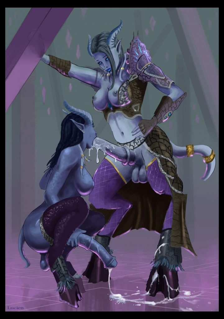 WoW Draenei Futa Horsecock Blowjob