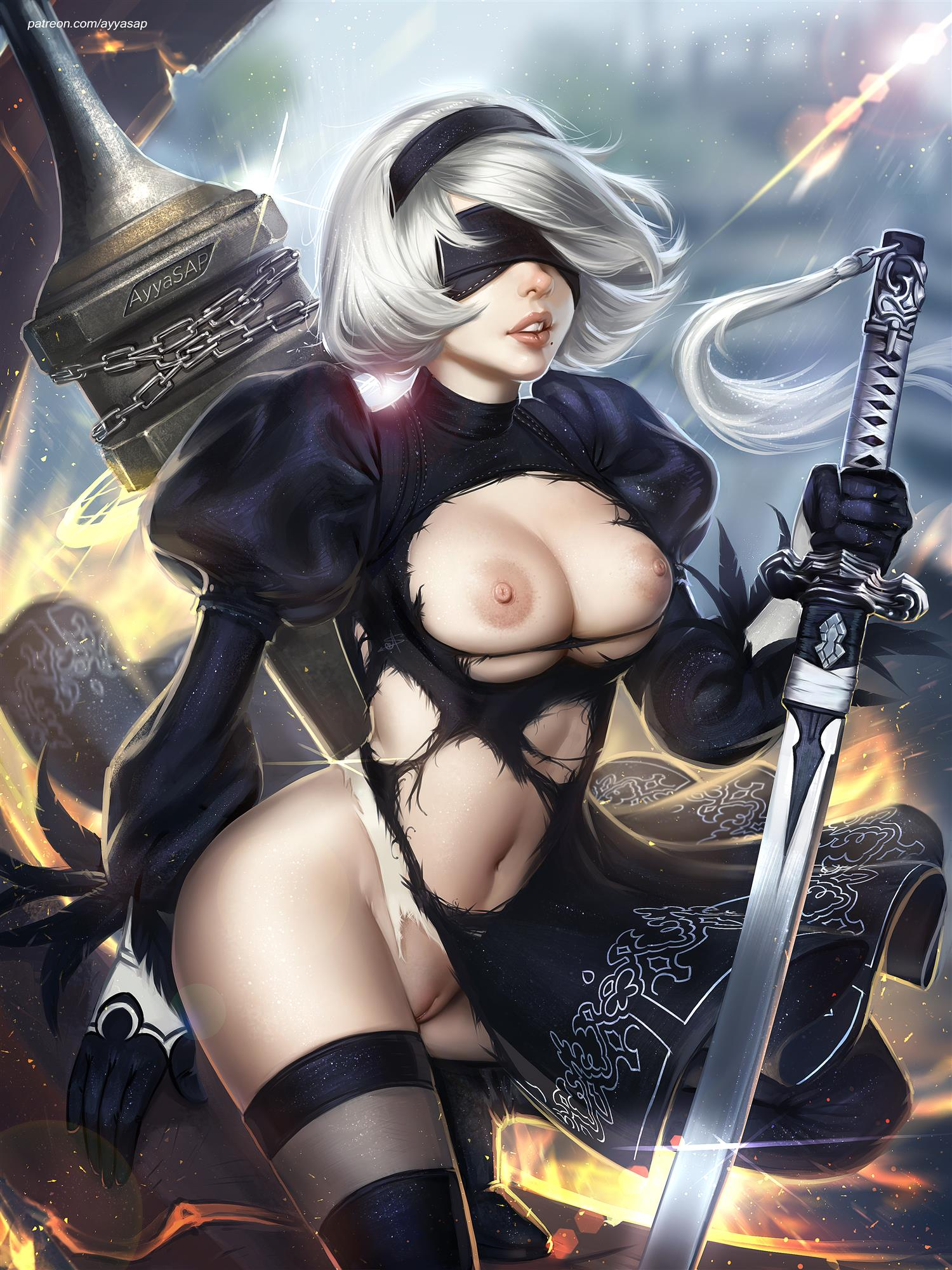 Nier Automata 2B nude high quality art