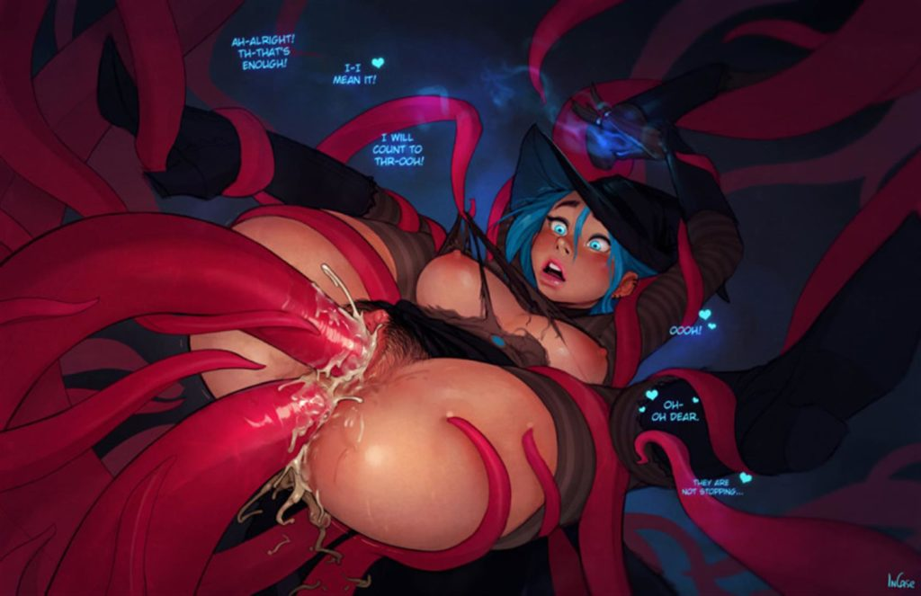 Witch girl getting tentacle fucked