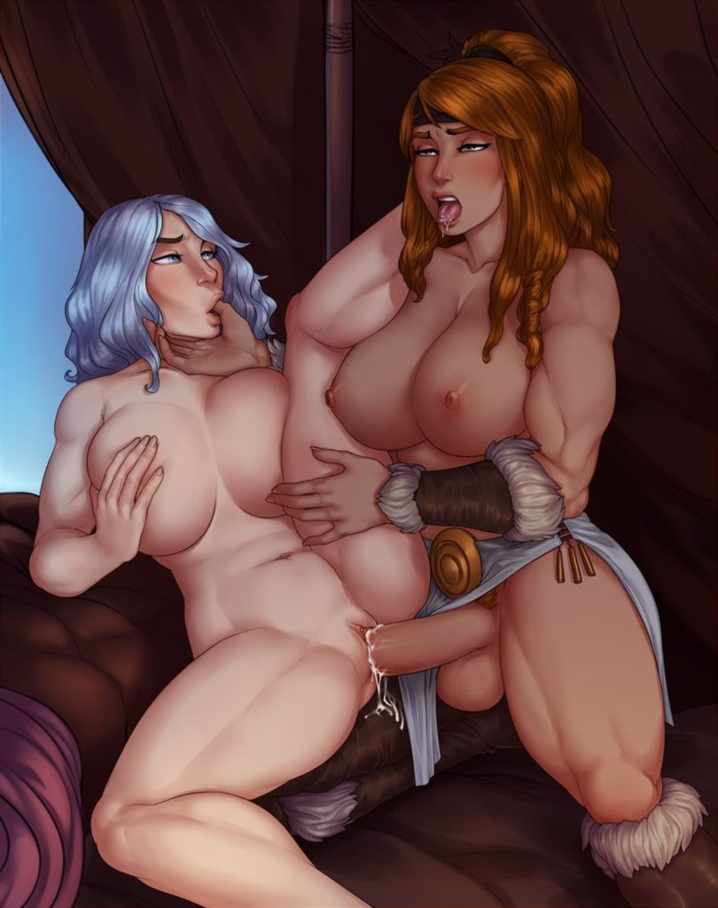 Muscular  fit futa barbarian fucking girl