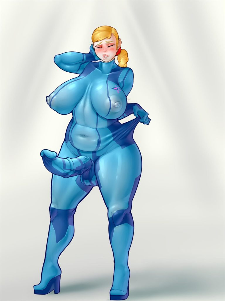 Thick fat futanari Samus Aran with an erect dick and huge breasts in a see trough suit