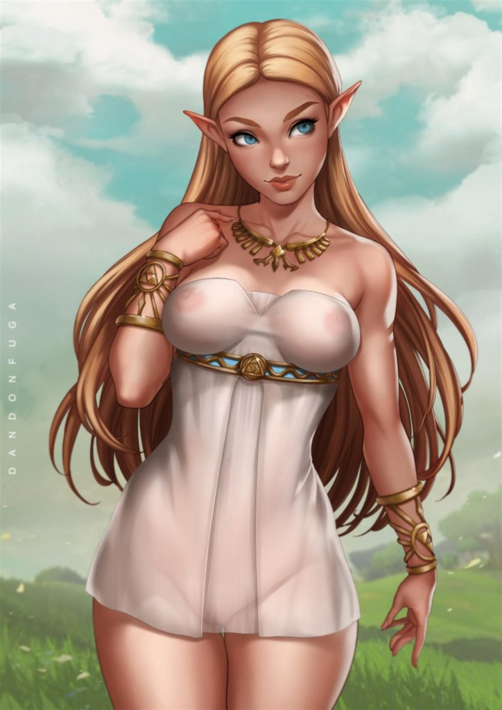 Zelda wearing a see trough dress