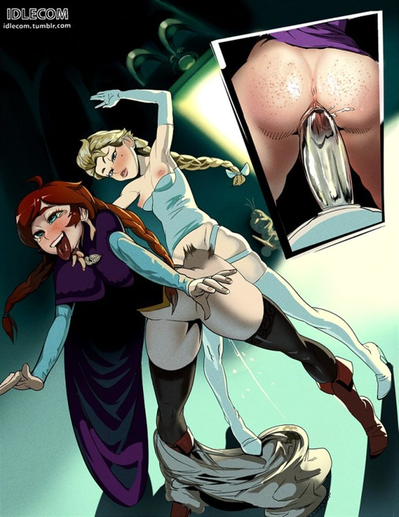 Elsa fucking Anna with a ice strapon