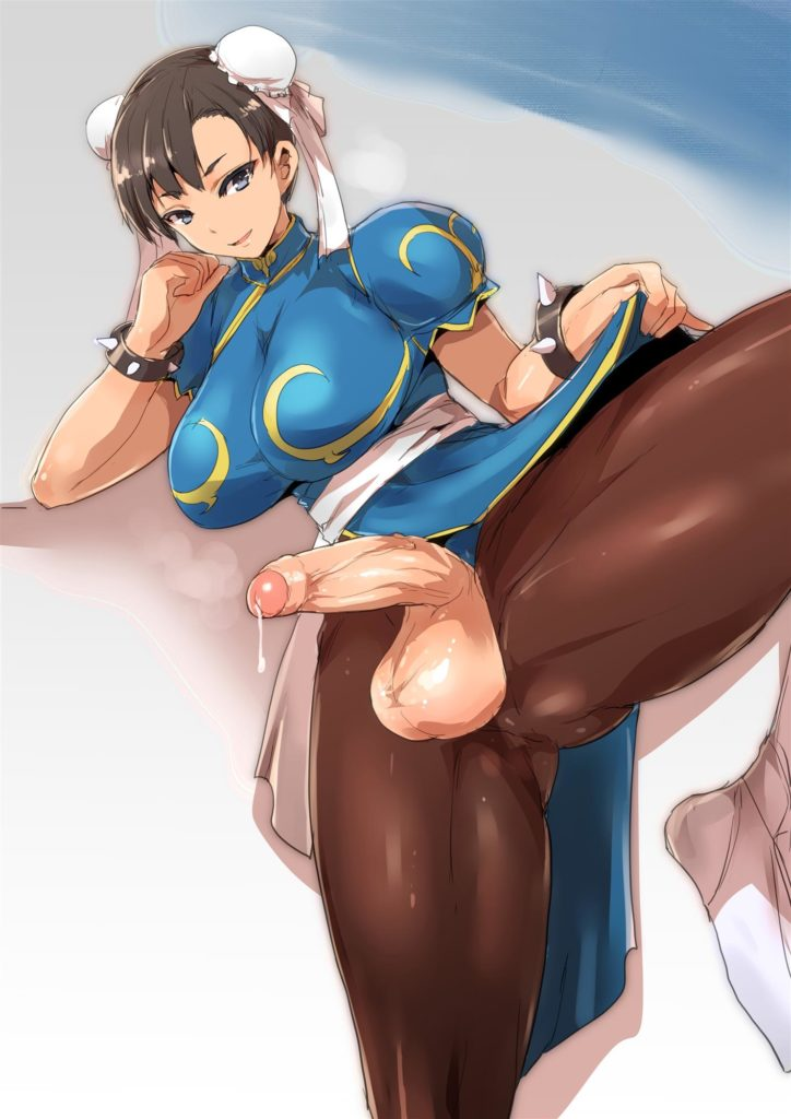 Chun Li has her dick poking out of her pantyhose