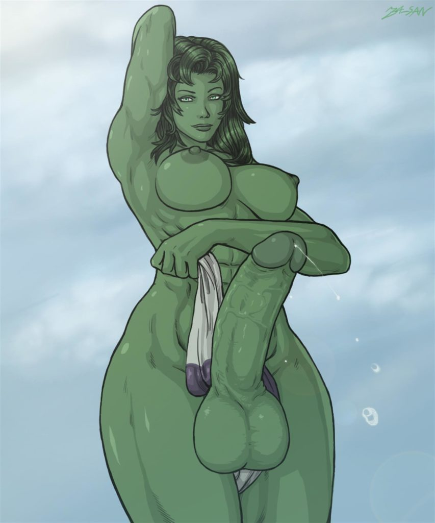 She-Hulk nude with an huge erection