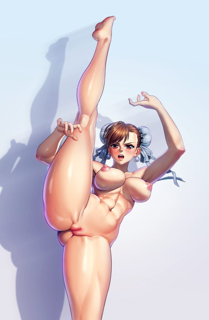 Young thin Chun Li spreading her legs nude
