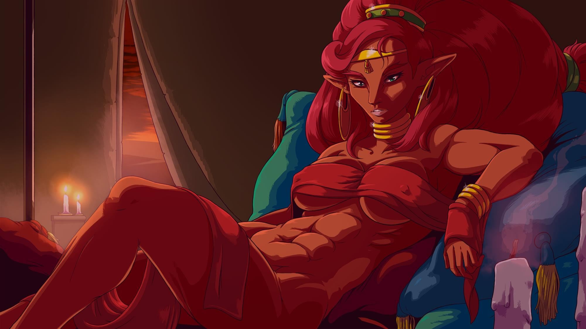 Urbosa resting on a bed looking beautiful