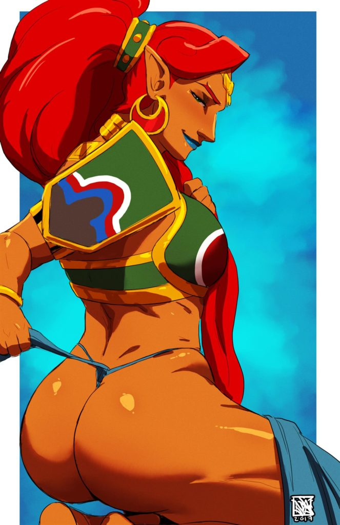 Urbosa doing sexy poses and taking off her panties