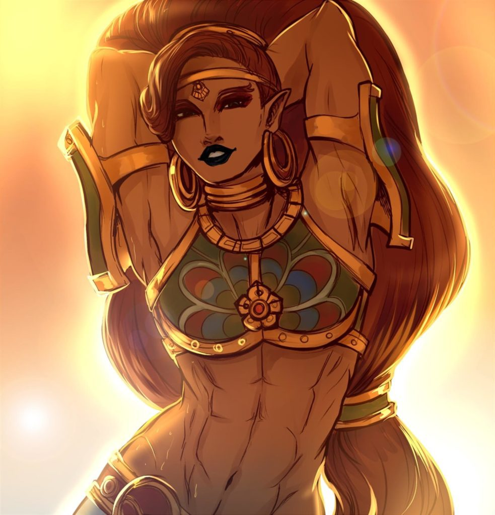 Urbosa posing in beautiful art. Muscles abs fit thick armpits
