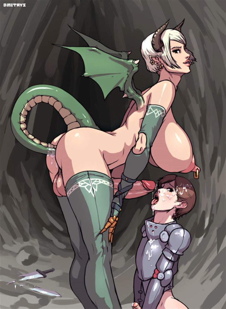 Dragon futa girl cumming on a knights face