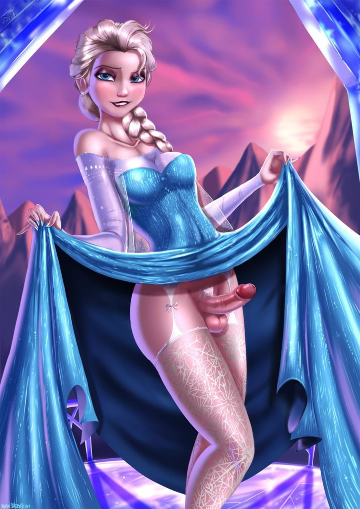 Elsa lifting her dress revealing a big hard dick
