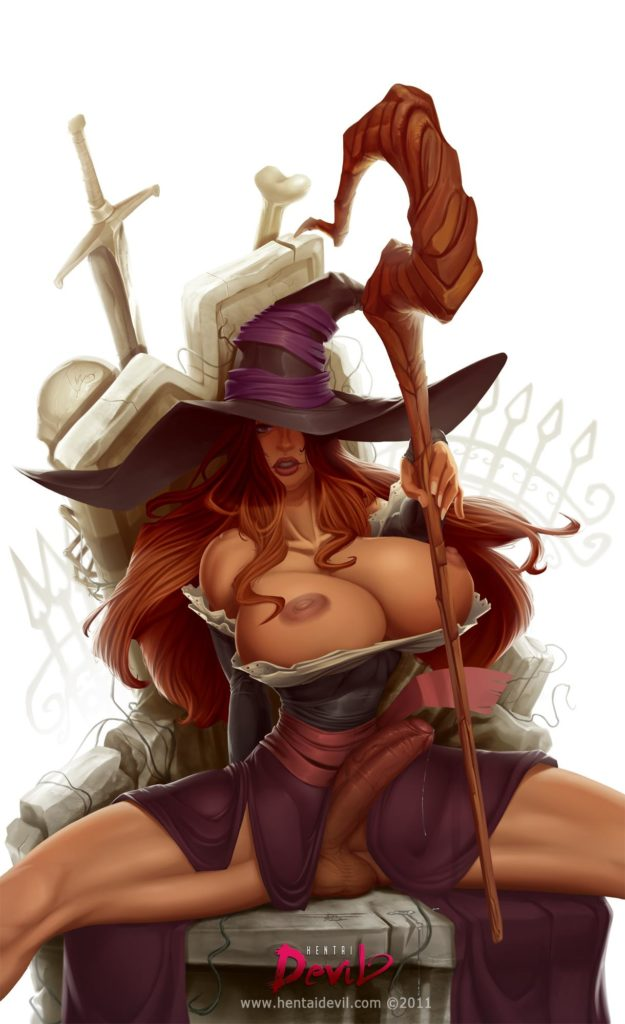 Sorceress has huge breasts and a hard dick