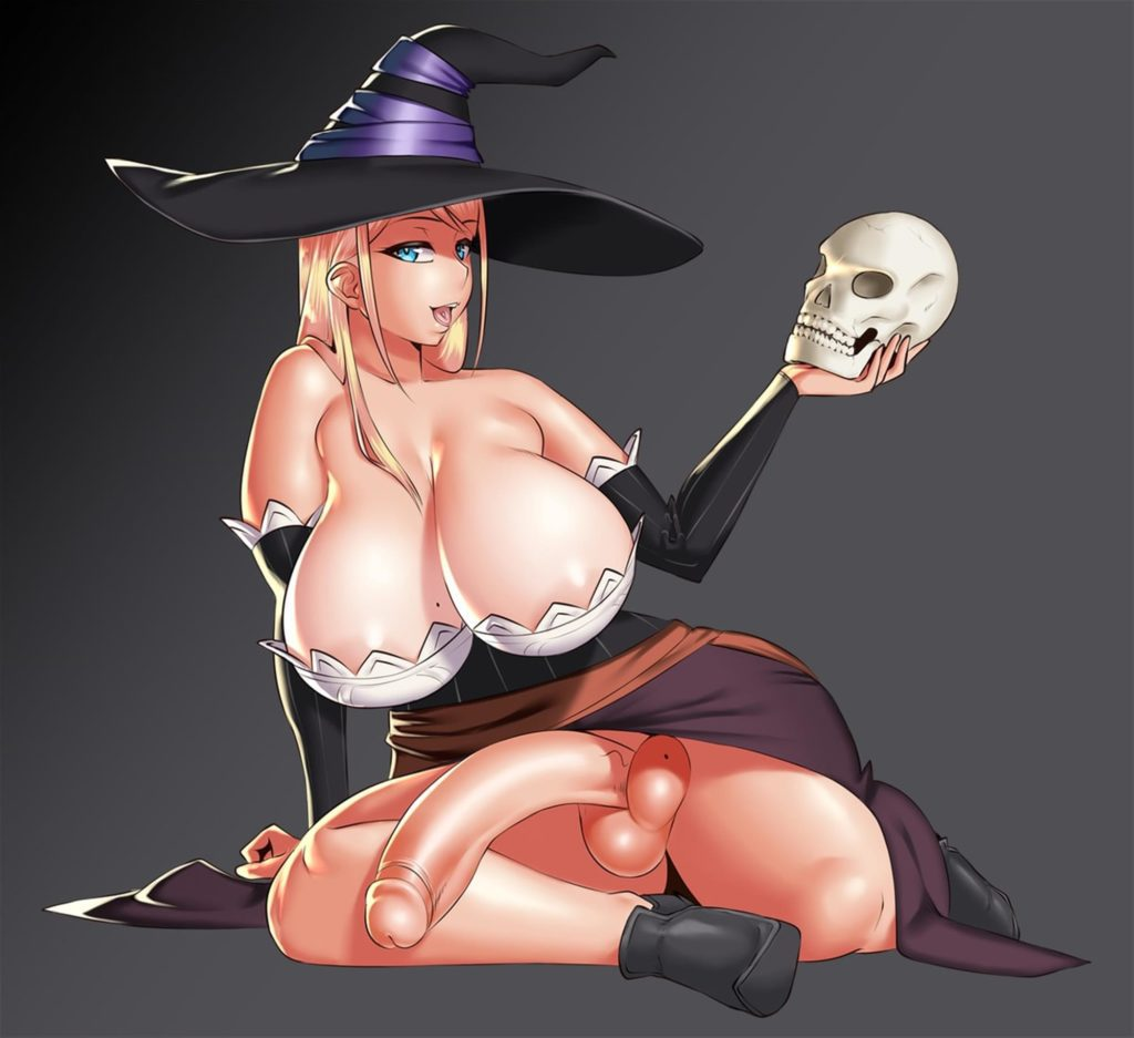 Sorceress has big tits and a long floppy dick