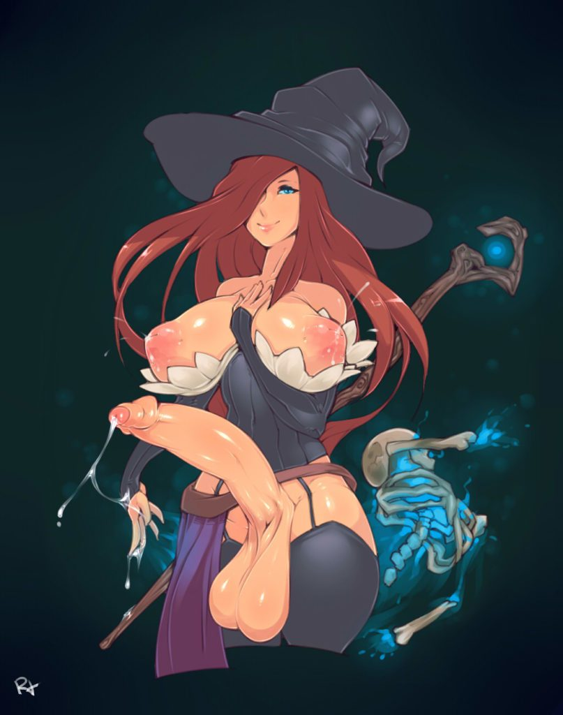 Sorceress with a huge futa dick and lactating tits