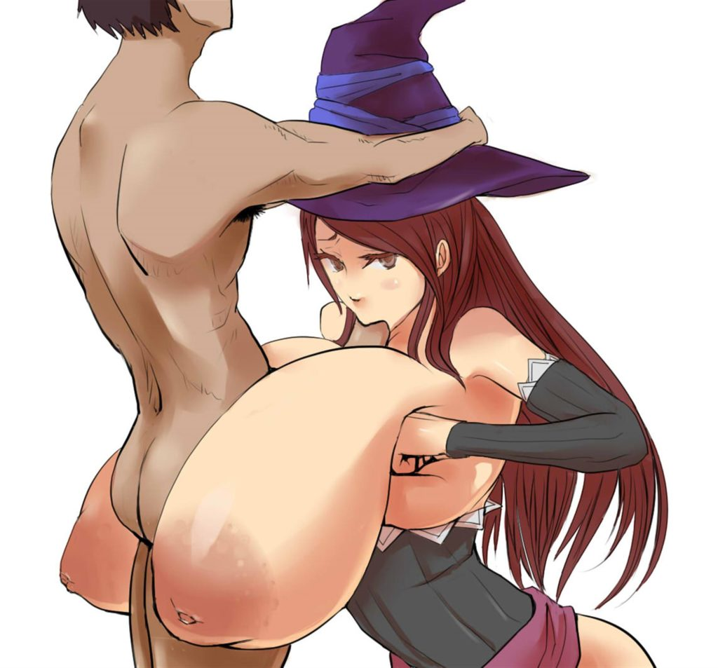 Sorceress with huge saggy breasts giving a boobjob