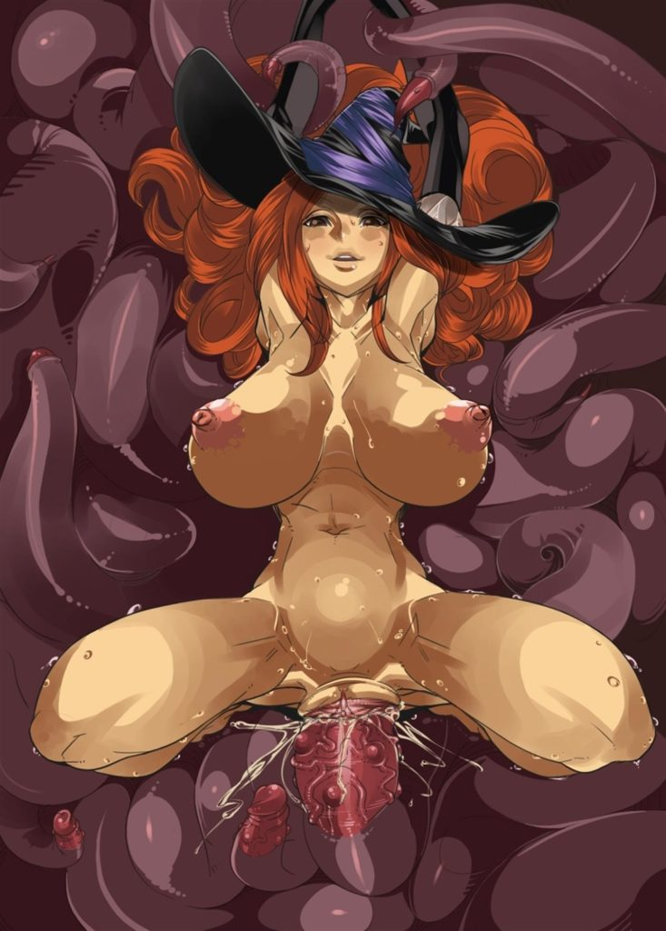 Big breasted Sorceress getting fucked by a tentacle dick monster or something