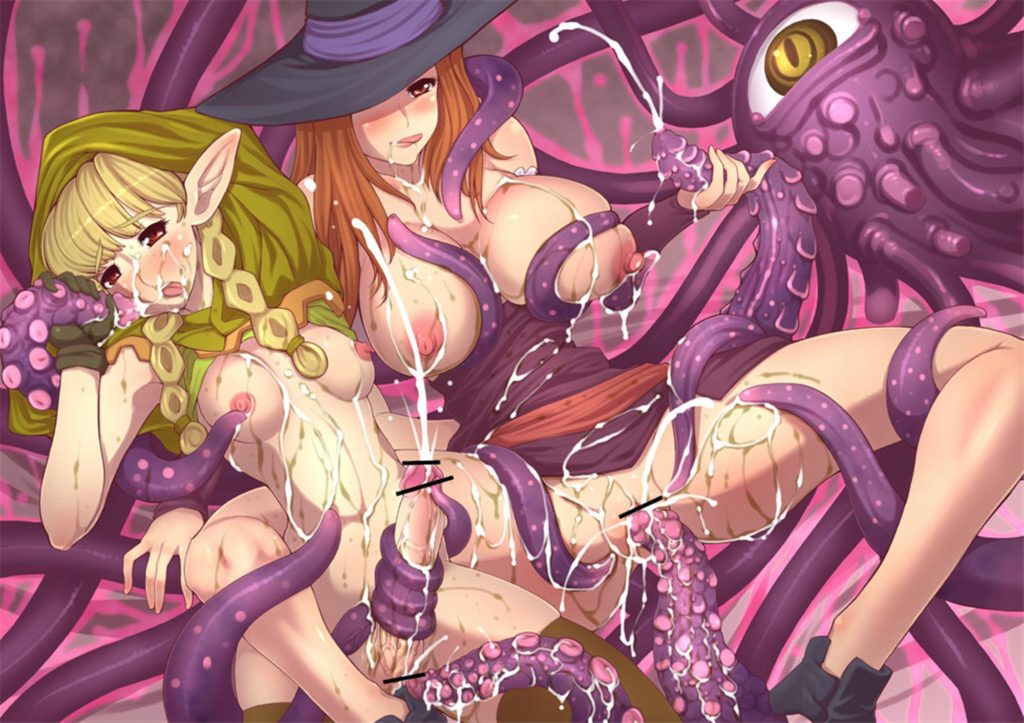 Elf and Sorceress fucked by tentacles