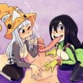 Froppy and Eruka from Soul eater sucking on a dick together