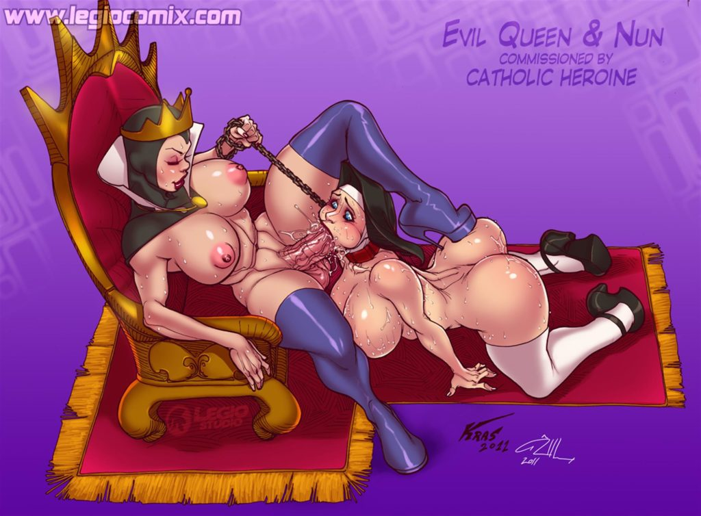 Queen Grimhilde getting a blowjob from a nun