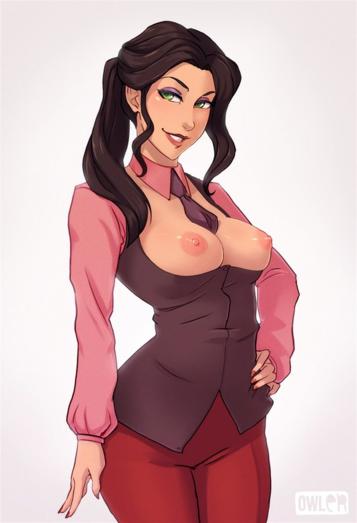 Asami topless in a suit