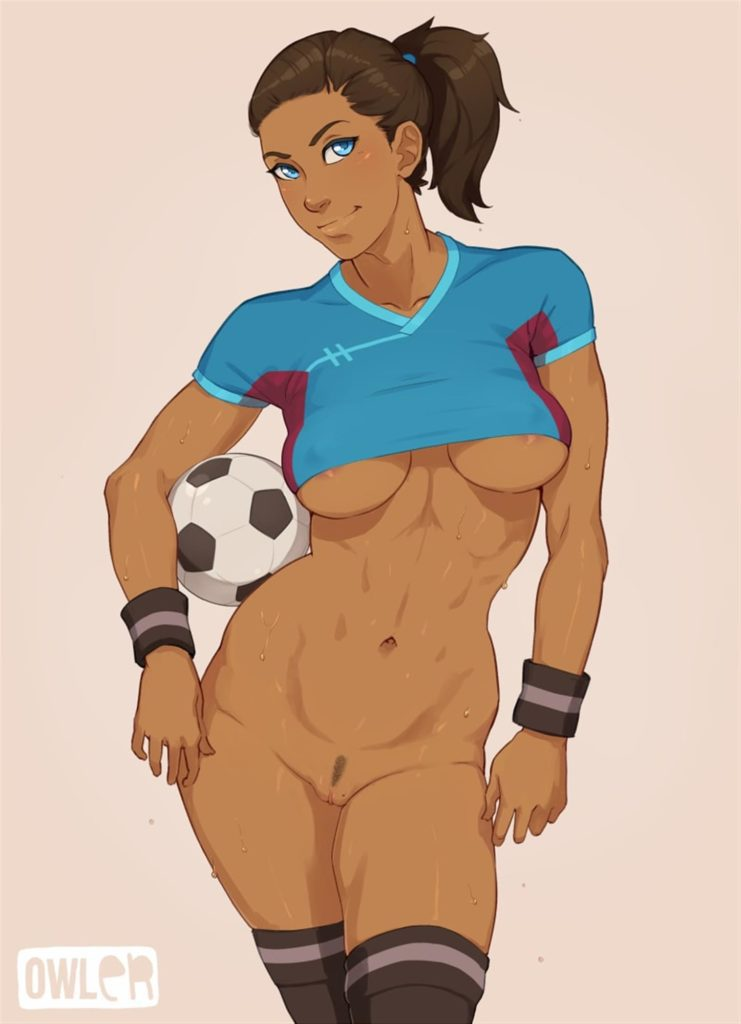 Korra playing nude football