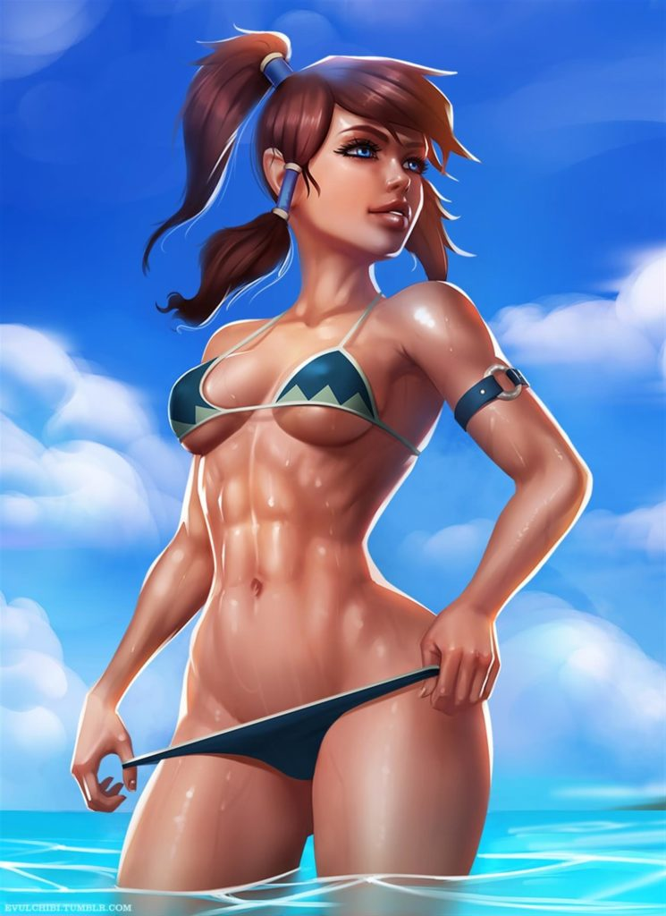 Fit Korra with abs in bikini