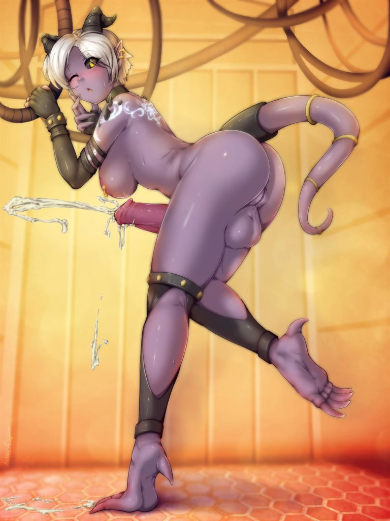 Draenei or demon girl spurts cum