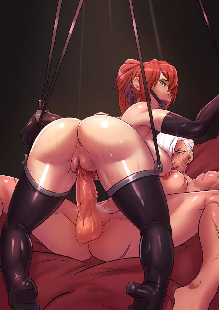 Girl in bondage hanging from the ceiling onto a futa girls dick