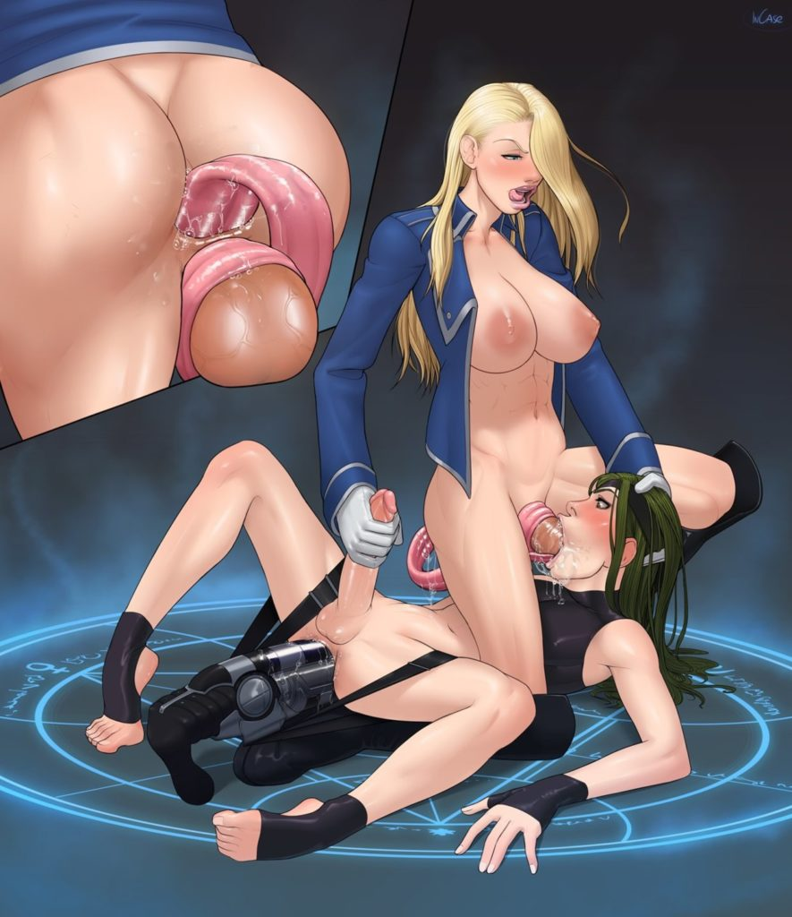 Futa girl fucking a demons mouth while she slips her tongue in her ass