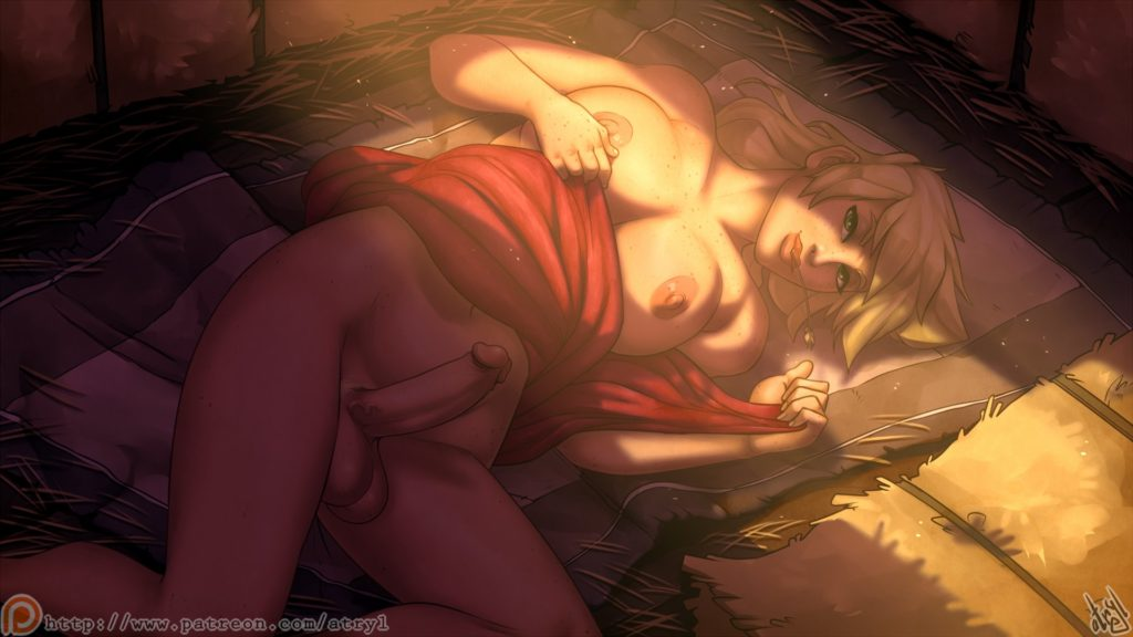 Applejack laying nude in hay with an hardon