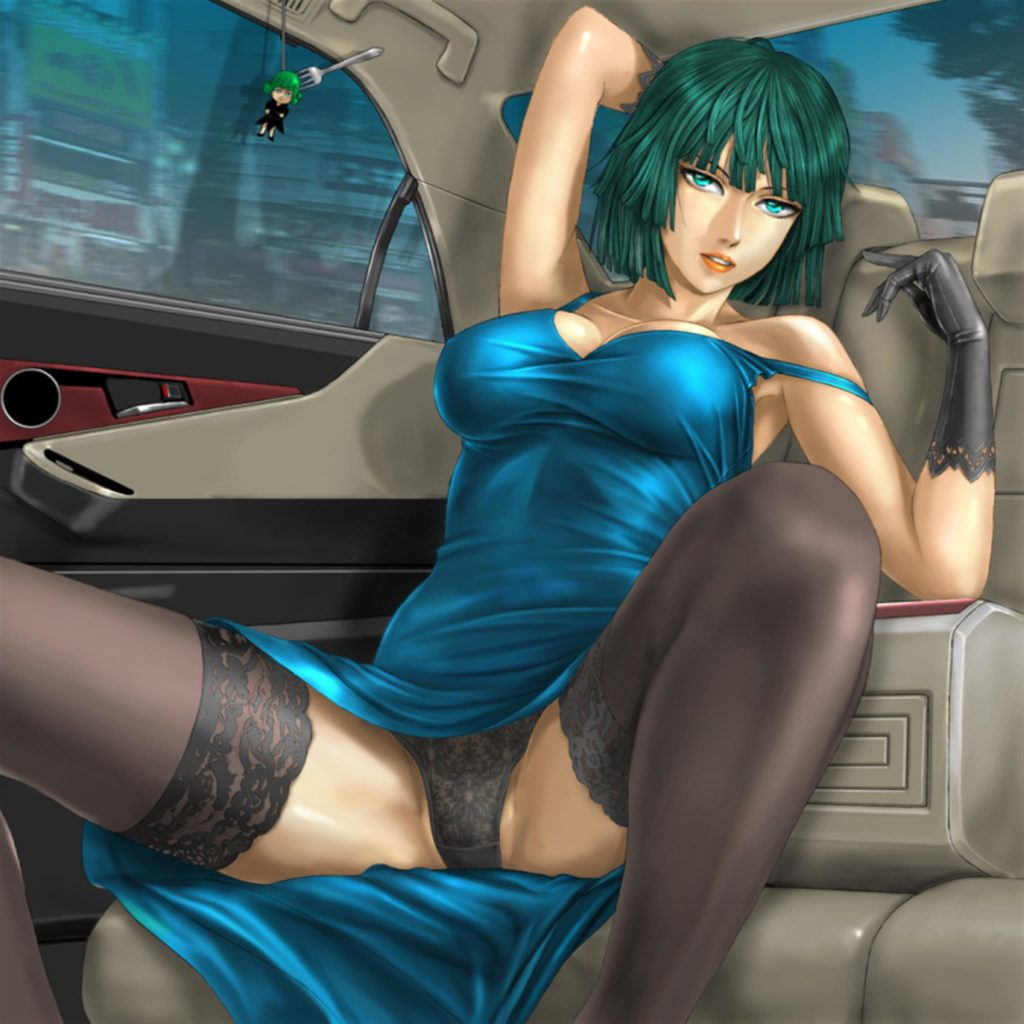 Fubuki in the car spreading her legs