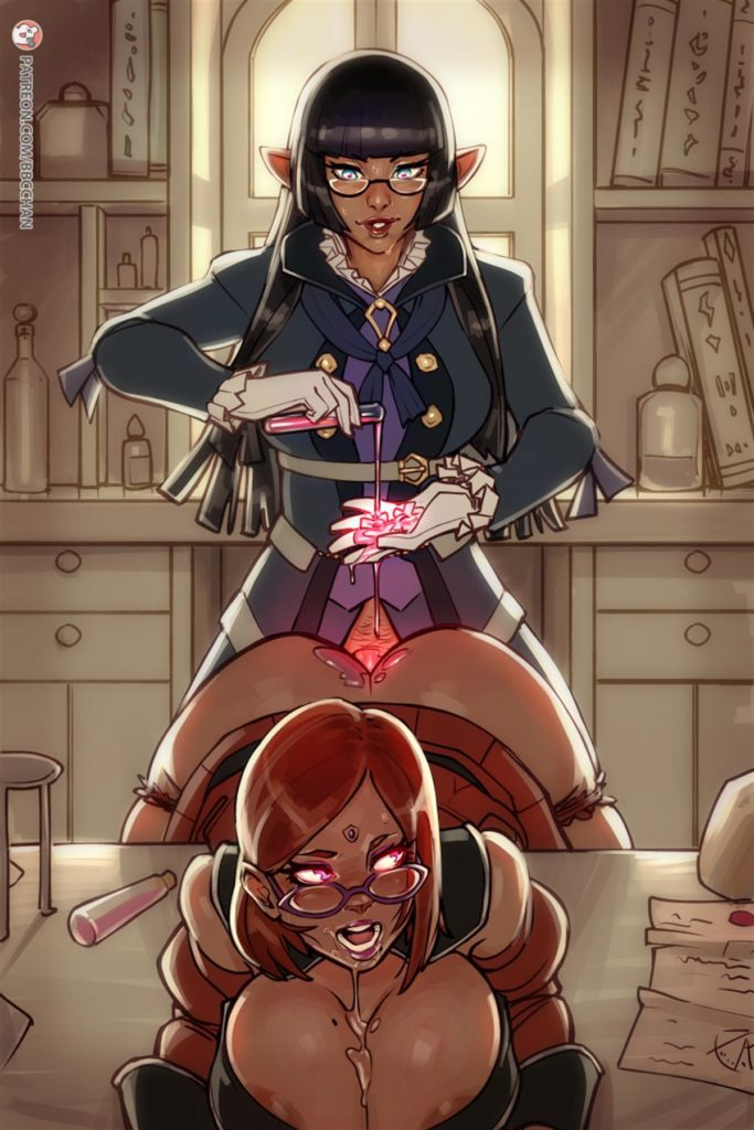 Futa alchemist is mixing up a lube while fucking assistant