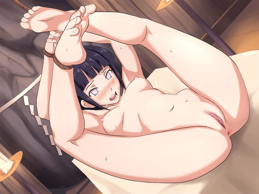 Hinata tied up with her legs above her hed