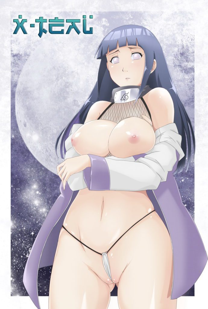 Hinatas tiny underwear is inside her pussy