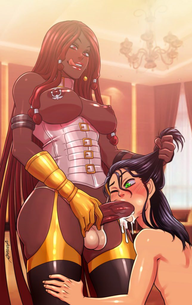 Dark skinned futa cumming in guys mouth