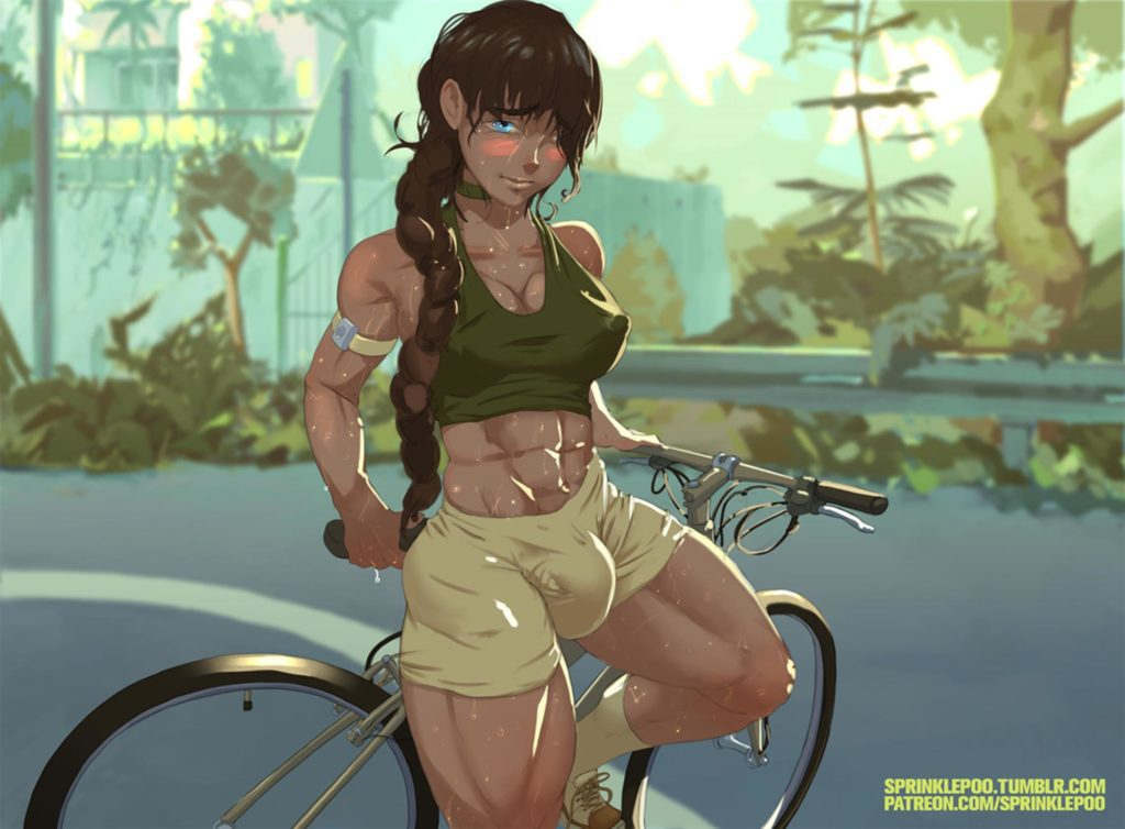 Muscular futa girl has a big bulge