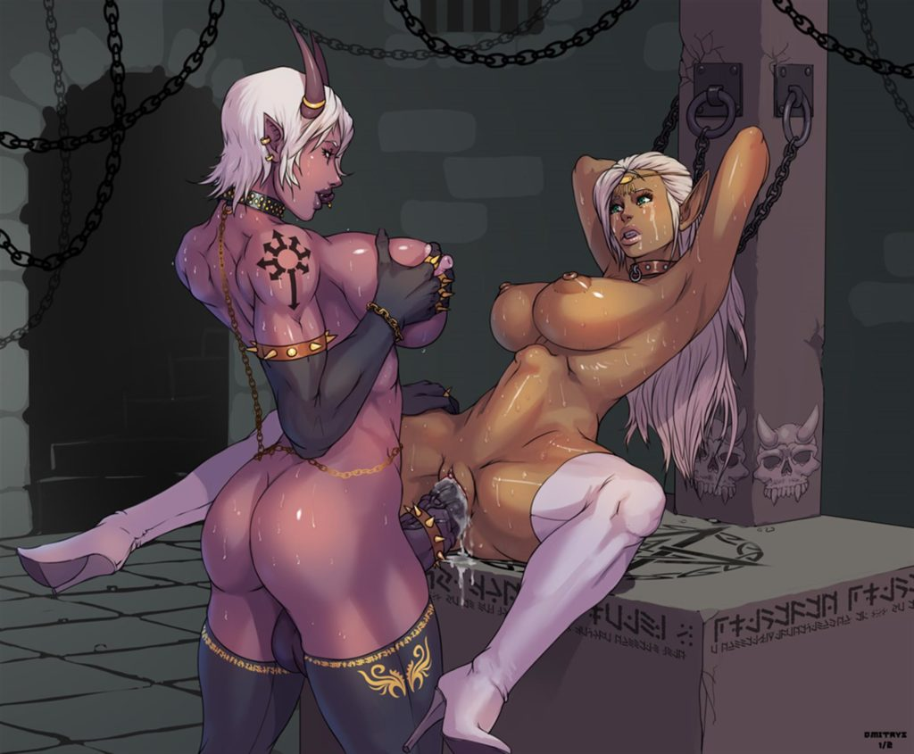 Futa demon fucking a girl making a huge bulge in her stomach