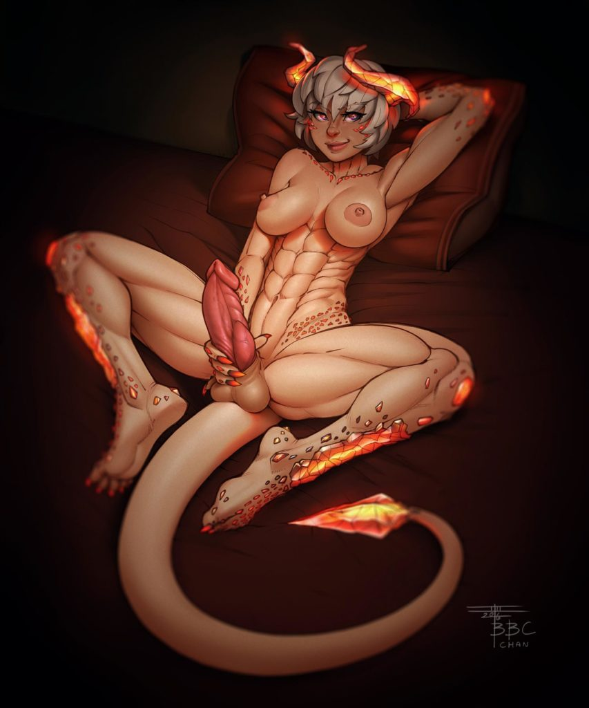 Futa demon has demon abs