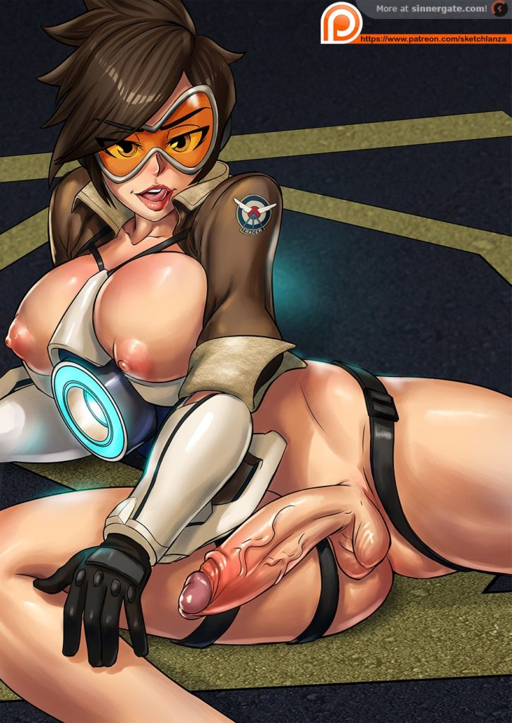 Tracer nude with her dick hard