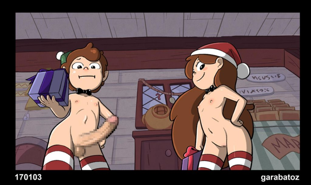 Dipper and Mabel in christmas clothes