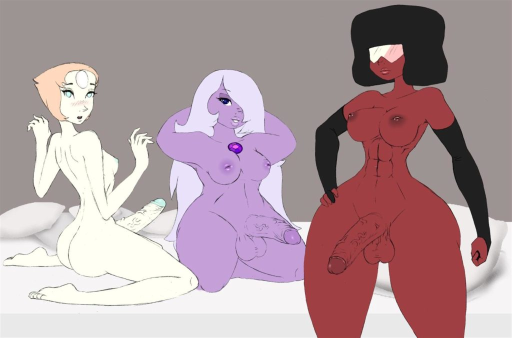 Garnet Amethyst and Pearl having a futa threesome