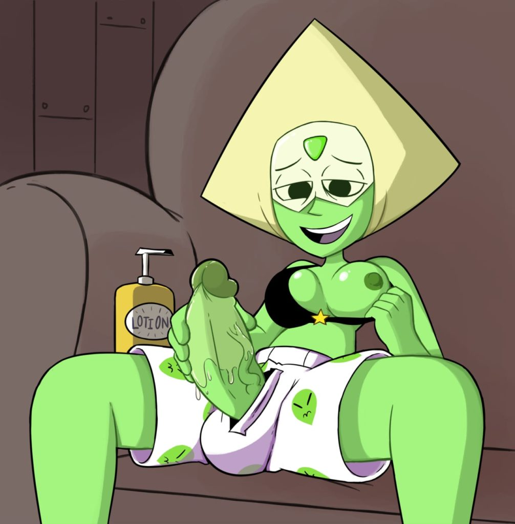 Peridot lubing up her dick