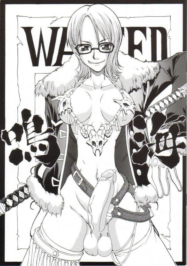 Futa Tashigi wearing bones one her tits and has a big boner