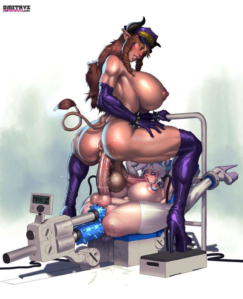 Excellia riding Spontys dick while Spontys getting machine fucked