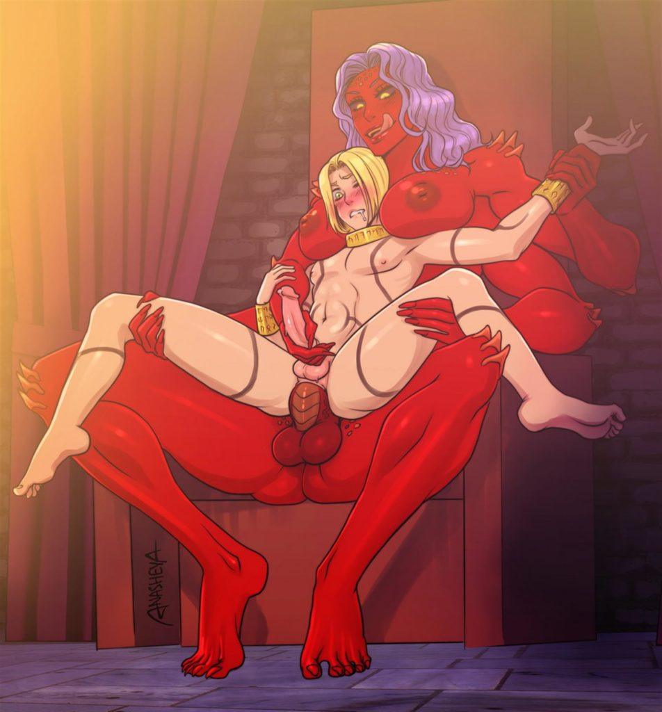 Futanari demon has a boytoy