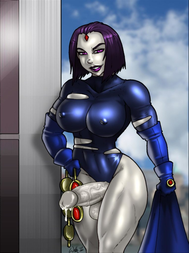 Futa Raven with muscular thighs