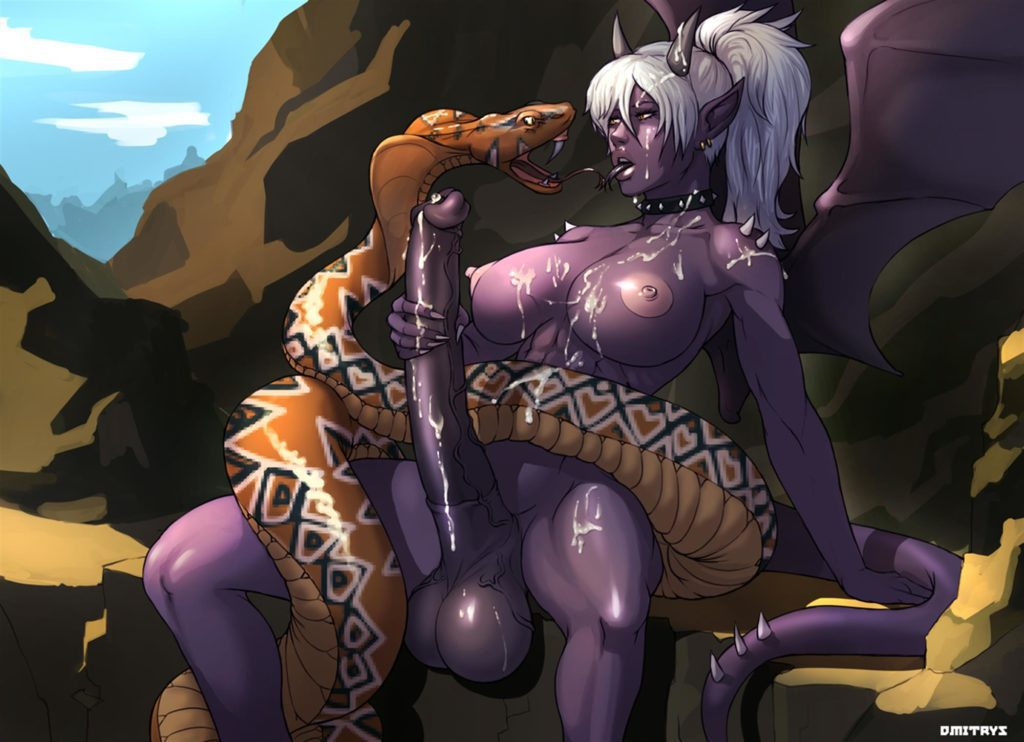 Purple demon girl has a giant horse dick and a snake