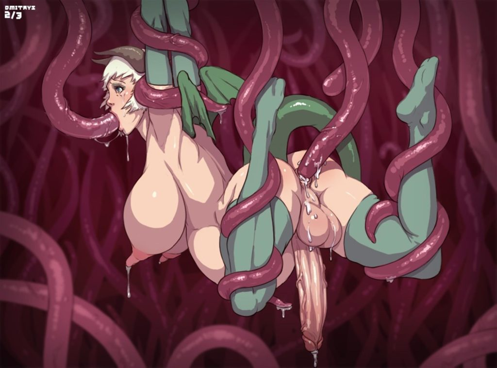 Futanari demon being tentacle fucked