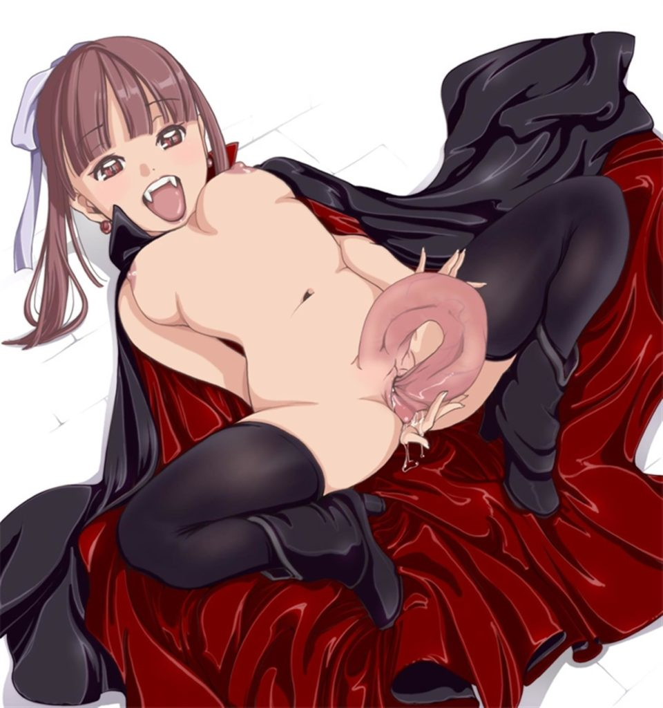 Futa vampire girl fucking herself