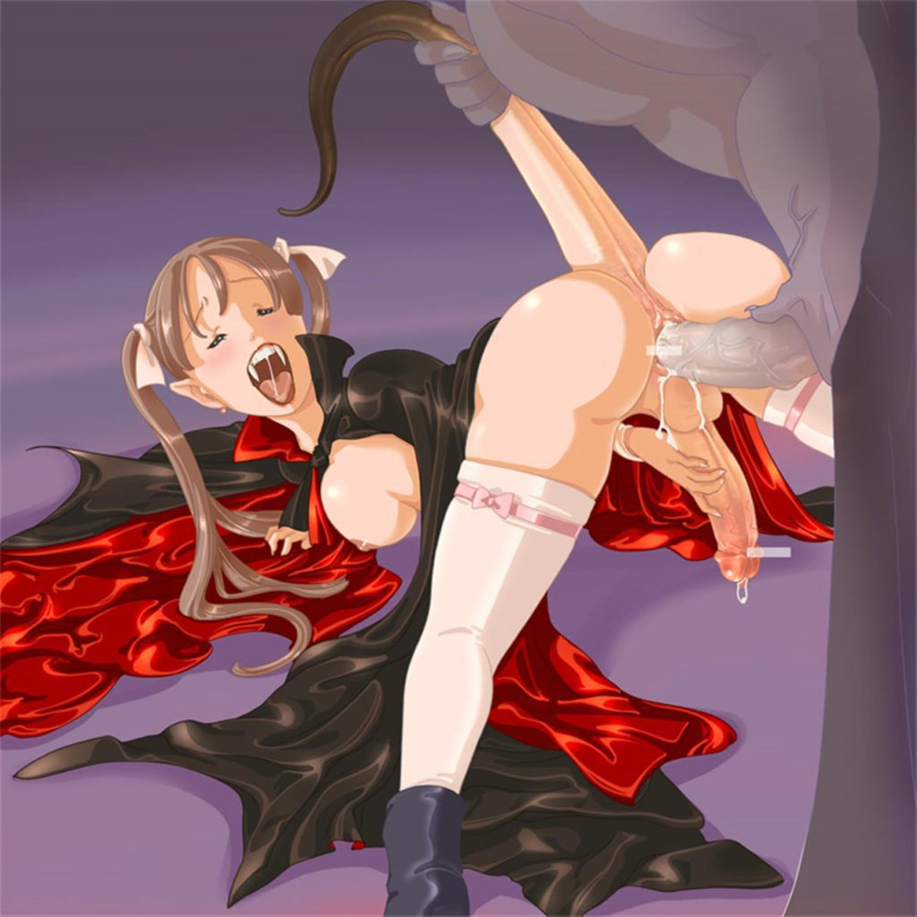 Guy fucking a vampire while pulling her tail